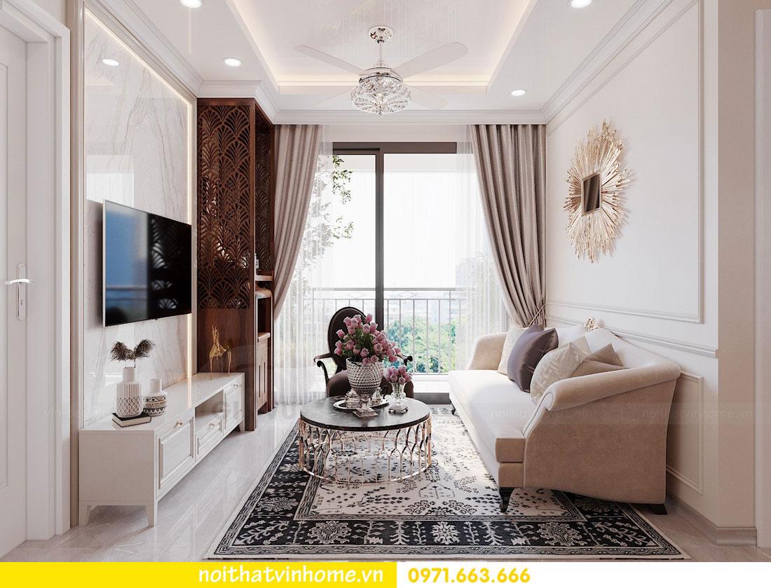 thiết kế nội thất căn hộ 60m2 với 2 phòng ngủ nhẹ nhàng hiện đại 02