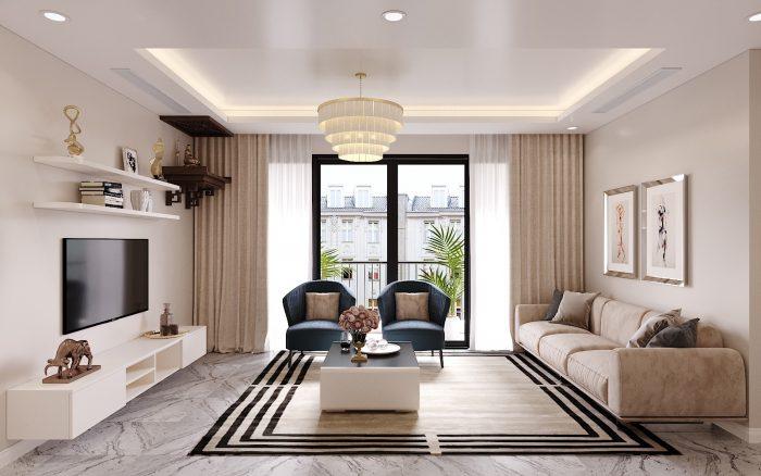 thiết kế nội thất căn hộ chung cư hiện đại nhà anh Kiên